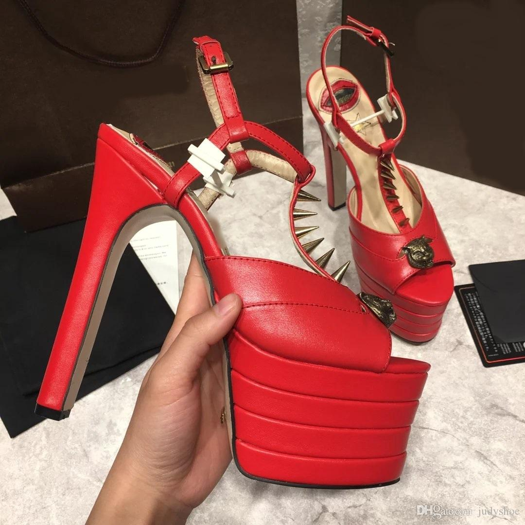2018 16 cm High Heel gladiator sandals women spiked rivets skull studded peep toe platform summer brand T show shoes for women salto alto