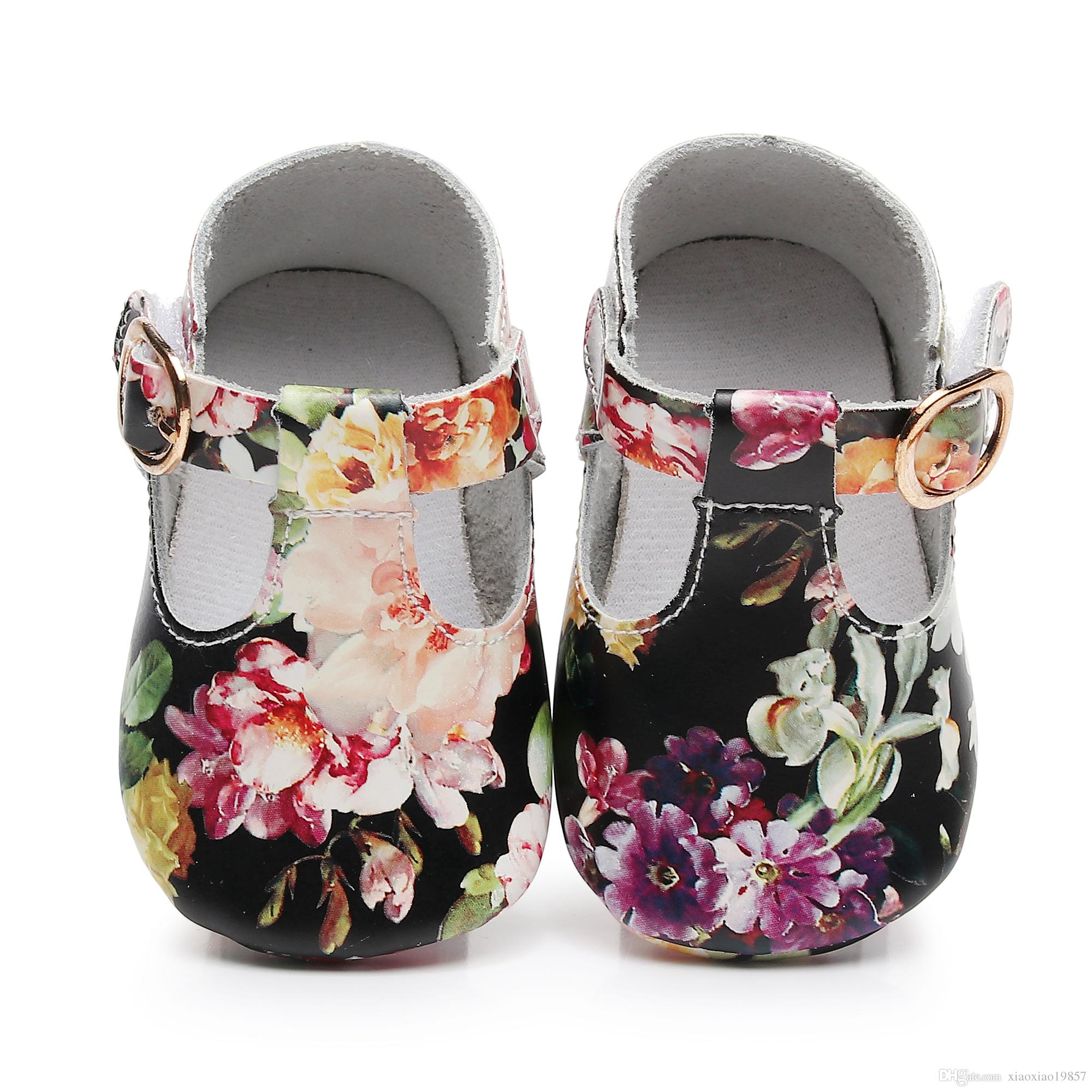 58533127f 2019 Floral Style Genuine Leather Baby Girls T Bar Mary Jane Shoes ...