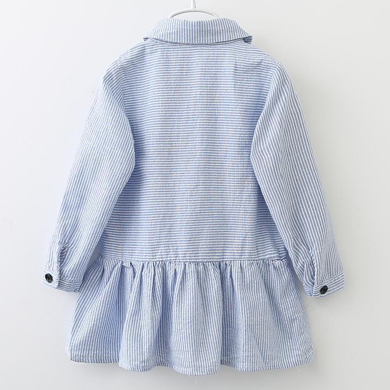 곰 리더 소녀 드레스 2018 패션 셔츠 드레스 긴 소매 파란색 줄무늬 자수 트 런 다운 칼라 디자인 아이 드레스