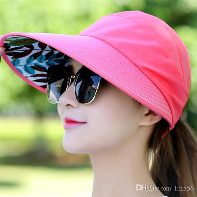 2019 2018 Women Summer Sun Hats Pearl Packable Sun Visor Hat With Big Heads  Wide Brim Beach Hat UV Protection Female Cap From Lin556 9d60177bf294