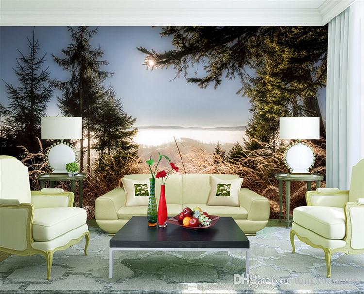 Modern Nature Landscape Wall Mural Photo Wallpapers For TV Background Cafe Home Decor Paper Roll Papel De Parede 3D Sala Widescreen
