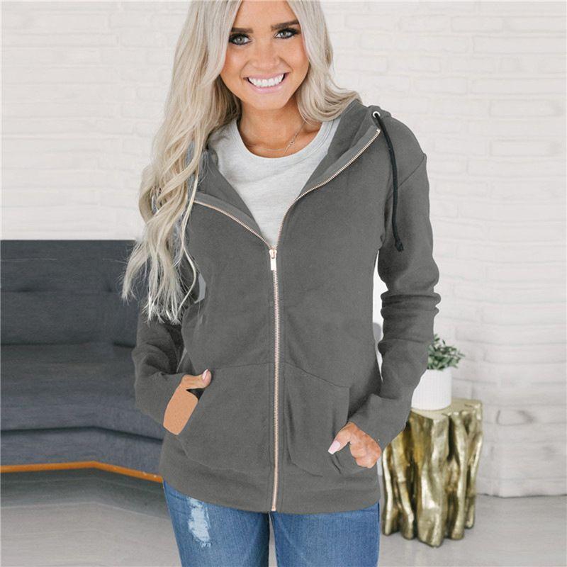 ec7242e39a0 New Autumn Women Hoodies Sweatshirt Casual Loose Long Sleeve Hooded  Sweatshirt Zipper Pocket Hoodie Streetwear Sudaderas Mujer Online with   40.69 Piece on ...