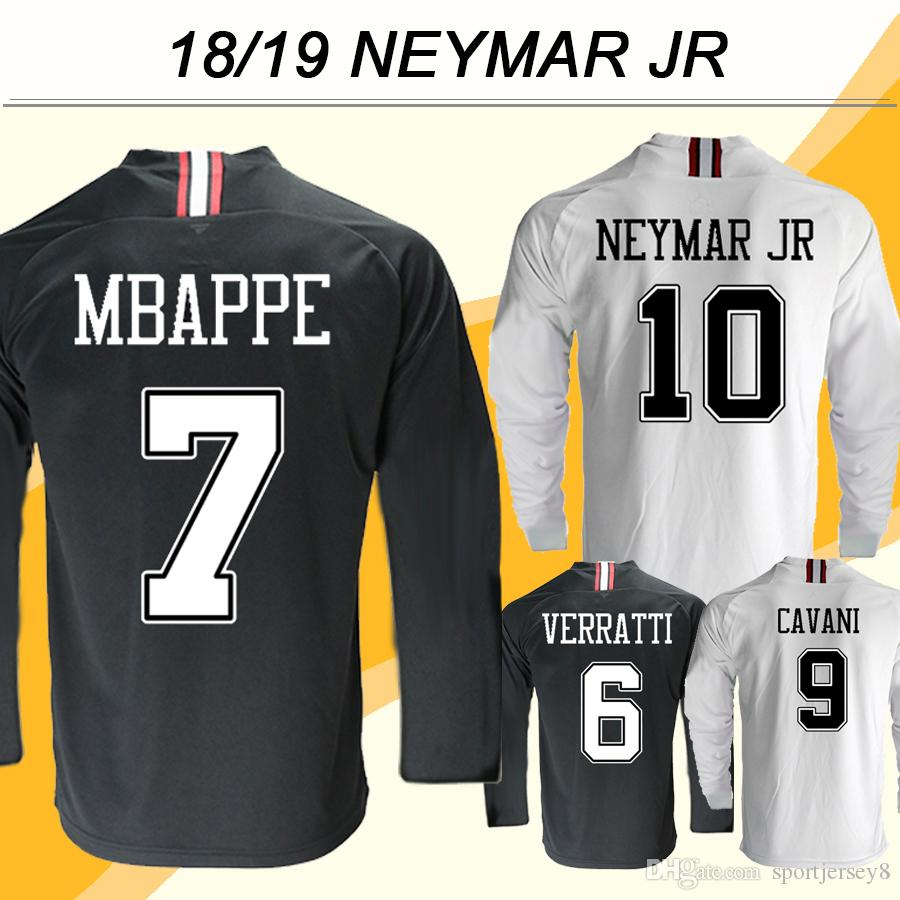 buy online 48494 fa0ae 2018 19 NEYMAR JR MBAPPE Long Sleeve Soccer Jerseys DI MARIA CAVANI  Champions League Home Away Men Football Shirts T.SILVA VERRATTI Uniforms