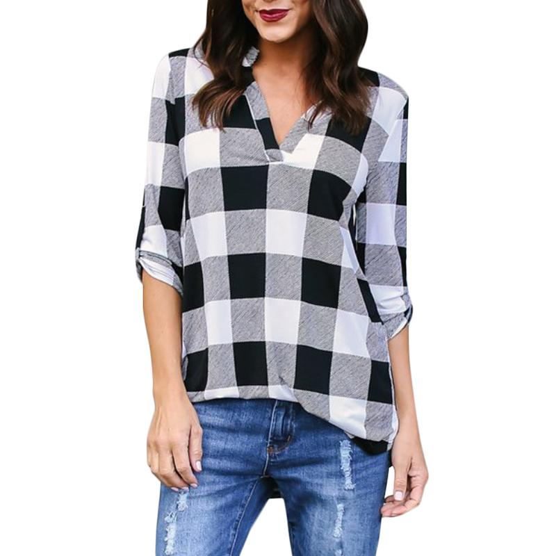 710b3b8b550 2019 Plus Size 5XL Women Tops And Blouse Casual Loose Long Sleeve V Neck  Plaid Summer Shirts Korean Clothes Befree Boho Women Blouses From Luweiha