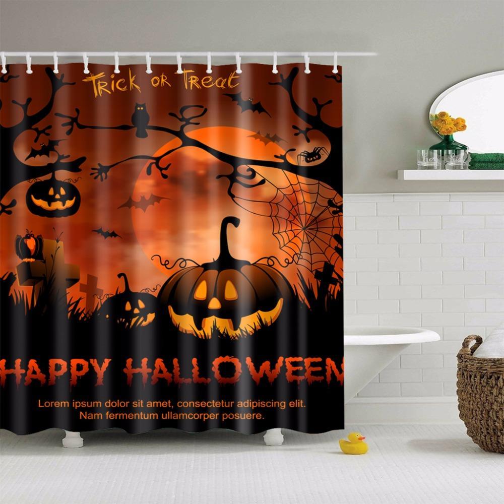 2018 180*180cm Waterproof 3D Halloween Shower Curtain Nightmare ...