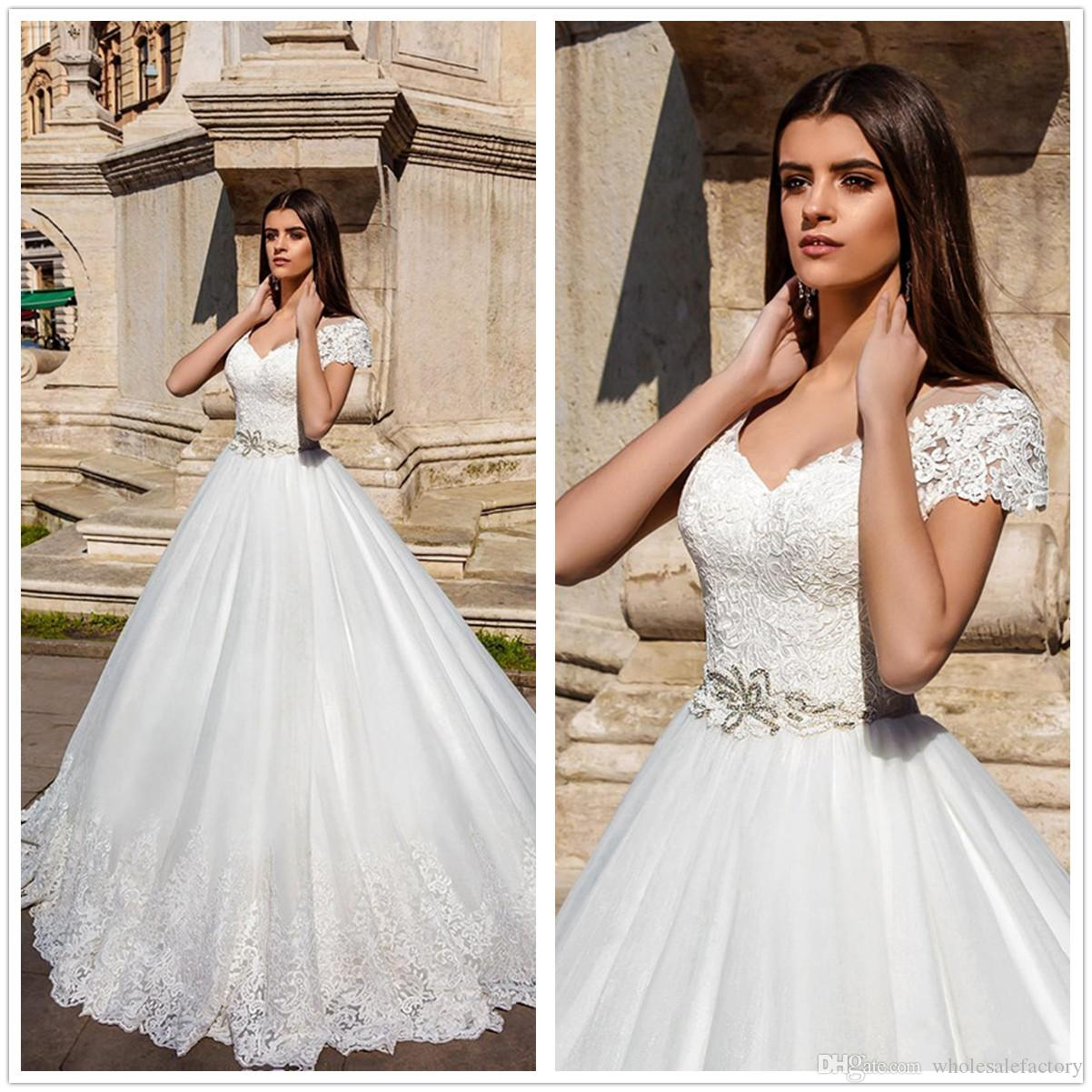 Discount 2018 Sheer Short Sleeves Lace Wedding Dresses Tulle Hollow Back Beaded Sash Floor Length Summer Beach Bohemian Outdoor Bridal Gown