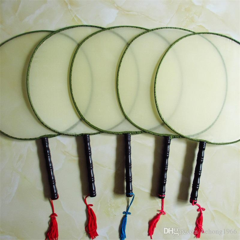 DIY Blank White Silk Hand Fans With Handle Student Children Hand Painting Fine Art Programs Chinese Vintage Round Fan 1 6xx Z