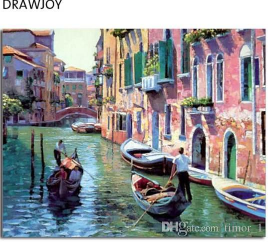 Venice Landscape Frameless Pictures Painting By Numbers DIY Digital Canvas Dipinto a mano Pittura ad olio Acqua Città Home Decor G086