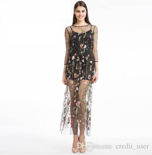 various colors ed76d ac043 Vestito da donna a fiori con ricami Vestito estivo a due pezzi con maxi  vestito nero Abiti lunghi abiti da abito sexy Abiti