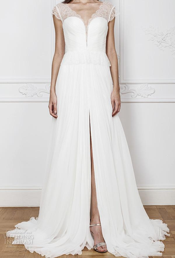 2018 Middle Split Backless Wedding Dresses Cap Sleeves A Line ...