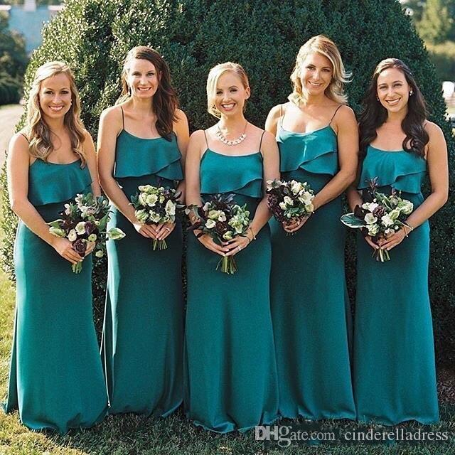 2018 Hunter Green Bohemia vestidos de dama de honor correas espaguetis vaina gasa playa larga dama de honor vestidos de fiesta de estilo country