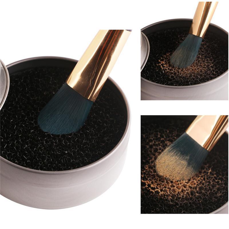 Cepillos de maquillaje portátil Limpiador Cepillo en polvo Lavado Fregadora Removedor de esponja Maquillaje Cepillos de limpieza Caja de estera Herramientas de limpieza