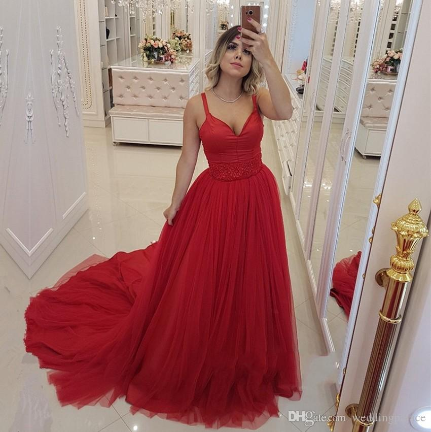 45f44b4bd71 Beautiful Red V Neck Arabic Long Prom Dresses Tulle Satin Beaded Middle  East Appliques Beaded Formal Prom Gowns Robe De Bal Evening Dresses Plus  Size Formal ...