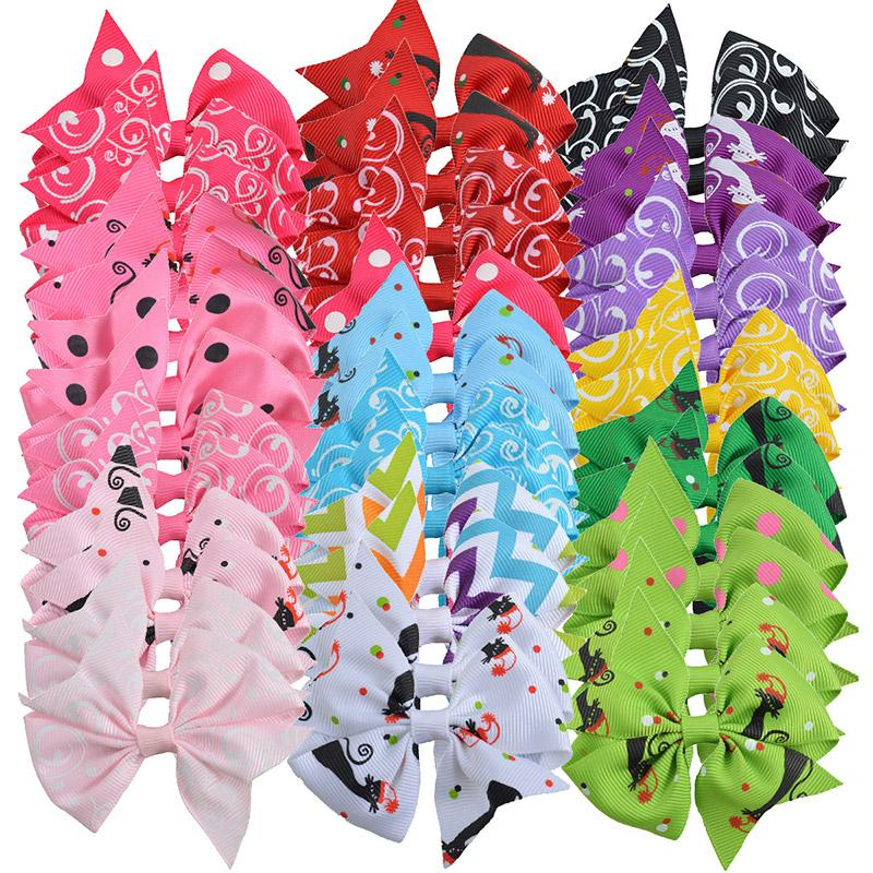 40pcs Little Girl 3 Inch Grosgrain Ribbon Hairbows With Alligator Clip Kids Small Hair Clip Pin Girls Hair Accessories Free Gift