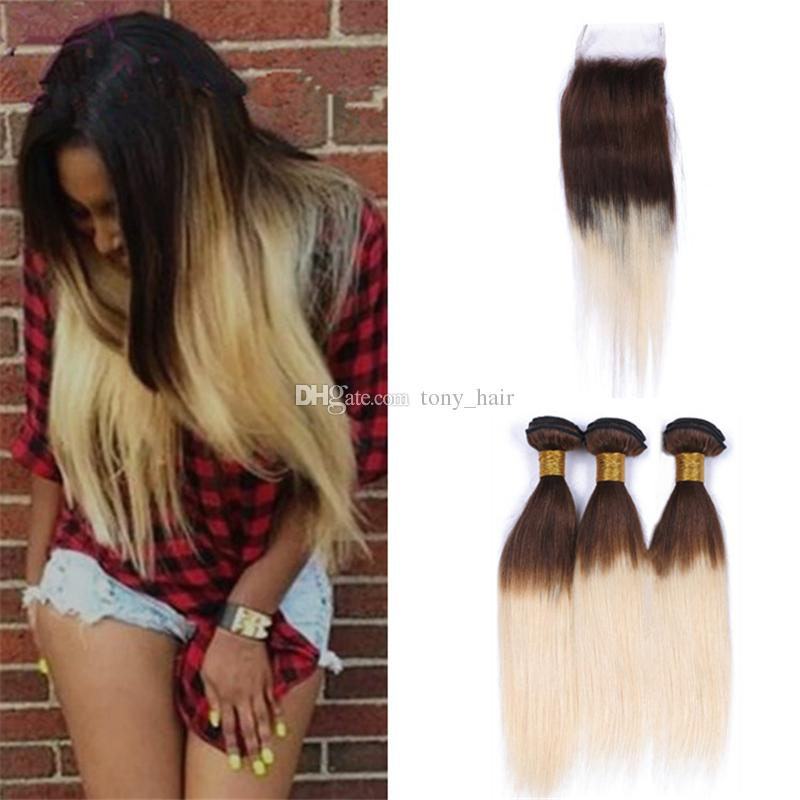 4613 Ombre Straight Hair Bundles With Lace Closure Chestnut Brown