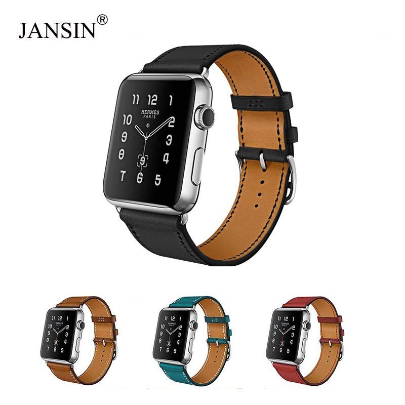 adf9829ad41a Compre JANSIN Correa De Reloj De Cuero De Vaca Genuina 42mm 38mm Botón De  Metal Pulsera Accesorio Serie 1 2 3 A  38.12 Del Watchesgreat