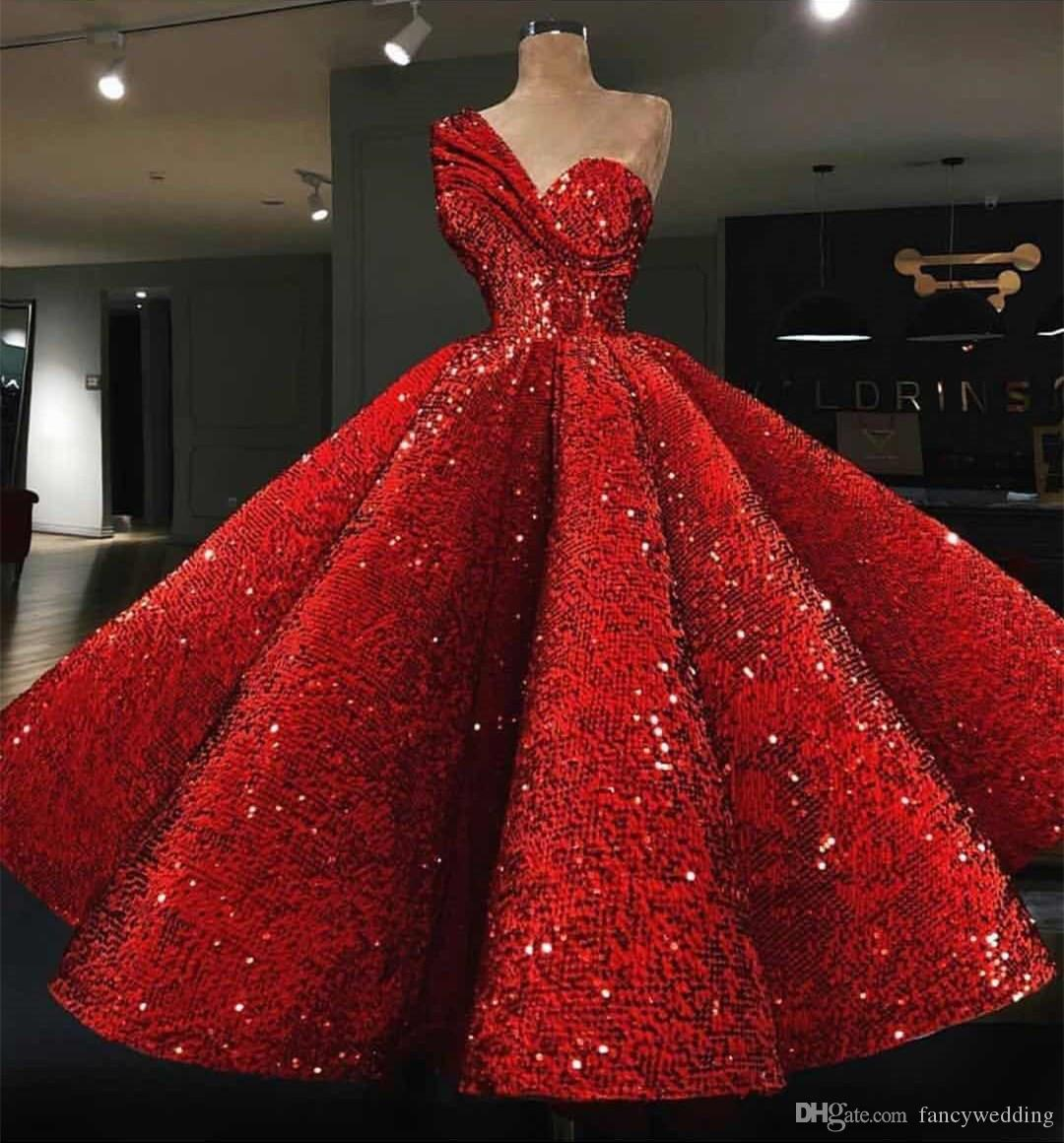 New Coming Red Luxurious One Shoulder Ball Gown Ruffle Sexy Beautiful Custom Made Evening Dresses Prom Dress