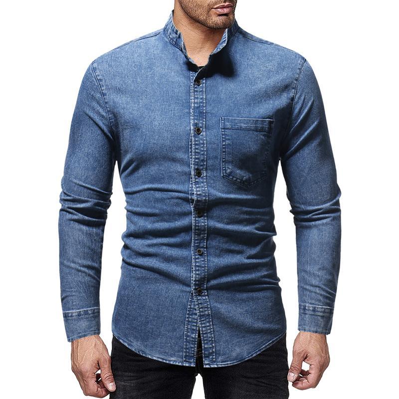 0f3819b9d61c Marca 2018 Moda Camisa Masculina Manga Larga Tops Nuevo Stand Collar Lavado  Jeans Mens Camisas de Vestir Camisa de Hombre Delgado