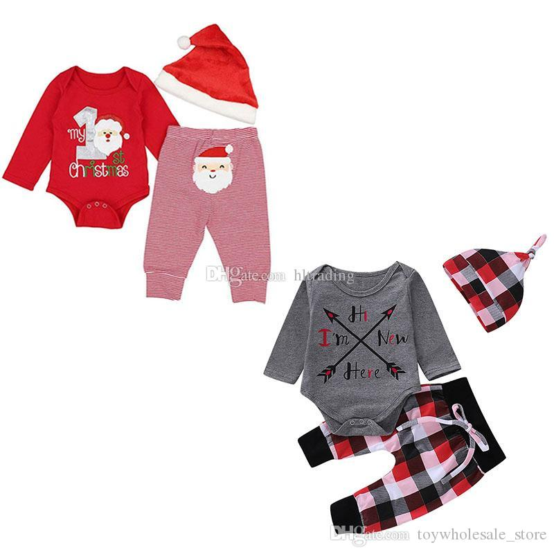 9432708e6 2019 Children Boys Girls Christmas Lattice Outfits Santa Claus Print Romper+Stripe  Plaid Pants With Hat Autumn Baby Clothing Sets C5414 From ...
