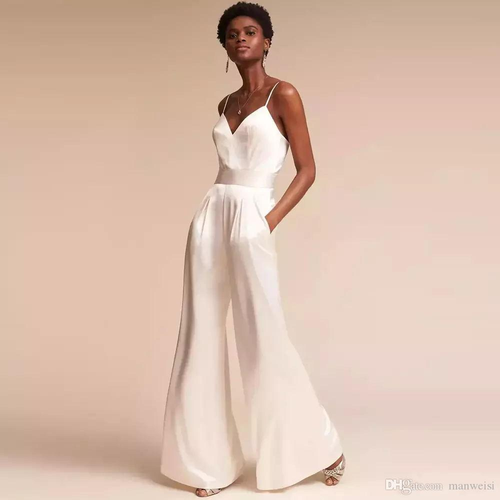 Designer Jumpsuit Bridesmaid Dresses For Wedding Sexy Spaghetti Neck Backless Evening Gowns Simple Plus Size Pant Suit