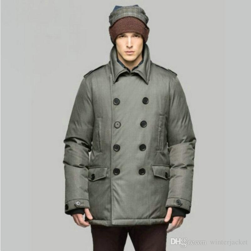 Winter Mens Jacket Thick Down wear Lapel Neck Fur Trim Hoody Double Breasted 100% polyester Metal magnet button Mans Coat