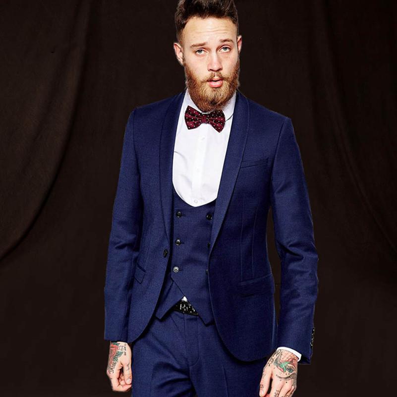Grosshandel Marineblau Manner Hochzeit Anzug 3 Stucke Manner Hochzeit