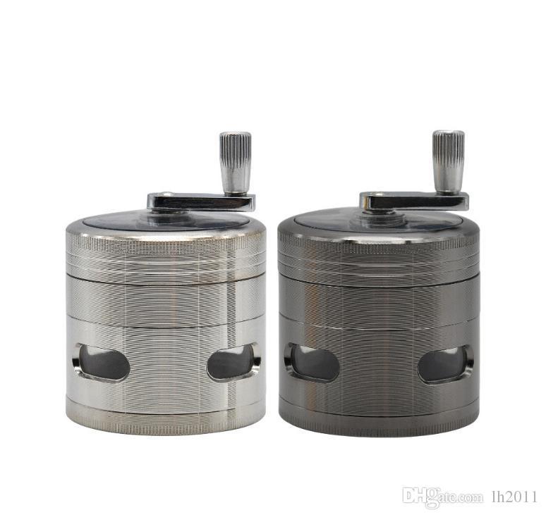Nuevo 63mm4 nivel hecho a mano aleación de zinc fenestración molino de humo cuatro capas de zinc cigarrillo cortador de cigarrillos caja de molienda