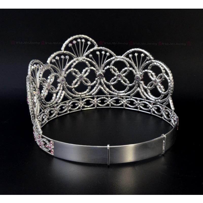 Crown Miss Teen EE. UU. De color rosa CZ Piedra Rhinestone Cristal Diadema Ajustable Nupcial Pelo de La Boda Joyería Tiaras Concurso Reina Corona Mo237