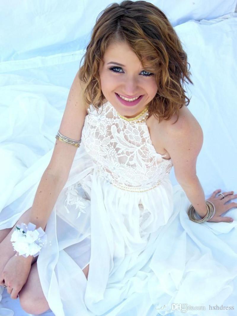 2020 neue reizvolle Günstige Julie Vino Sommer Eine Linie Spitze Brautkleider Halter Backless vestido de novia Split Strand Brautkleider