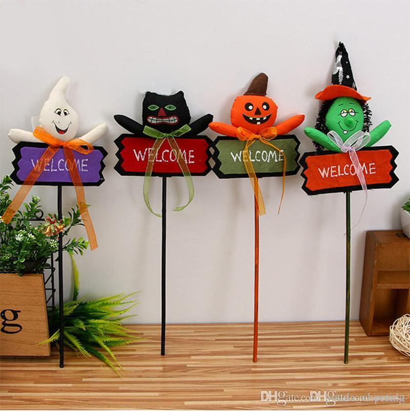 halloween pumpkin ghost doll welcome card cane ghost festival doll child magic wand halloween xmas christmas new year decorations woodcloth halloween