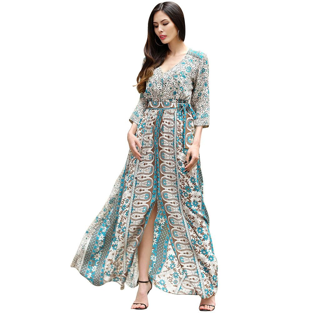2018 Spring Xia Xinkuan Suit Dress V Lead Sexy Vent Longuette Chalaza  Printing Dress Clothing Ladies Casual Dresses For Women Clothes Woman  Summer Dresses ... 2f8d916be