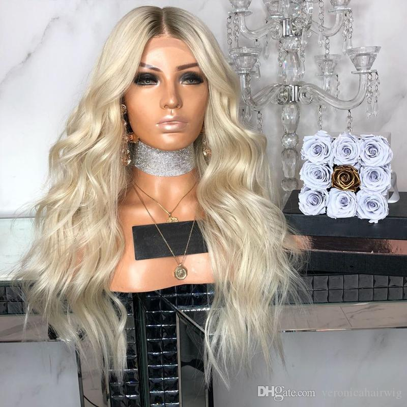 ca3282670 New Sexy 180% Density Platinum Blonde Lace Front Wig With Black Roots Heat  Resistant Synthetic Hair Ombre Wigs For Black Women Best Synthetic Wig  Glueless ...