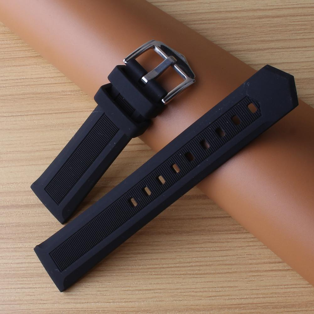 Common Watchbands Black Silicone Rubber Soft Watchband strap fit sport watches men women 16mm 18mm 19mm 20mm 22mm 24mm promotion