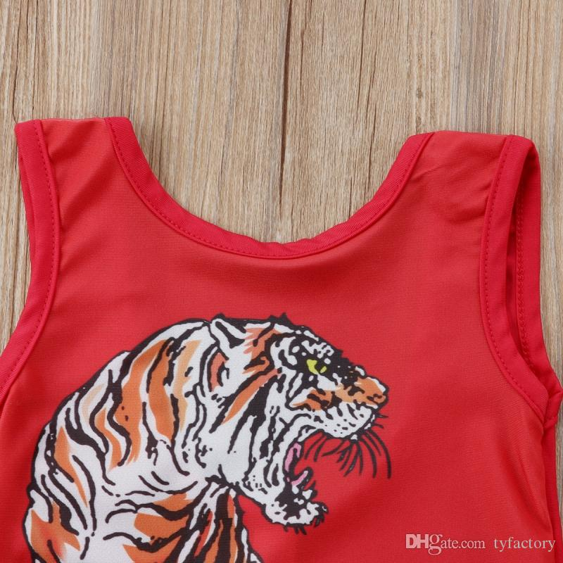 Summer Kids Baby Girls Tiger Red Swimwear One-piece Swimsuits Flower Animal Swimming Suit Bathing Dress Beach Wear
