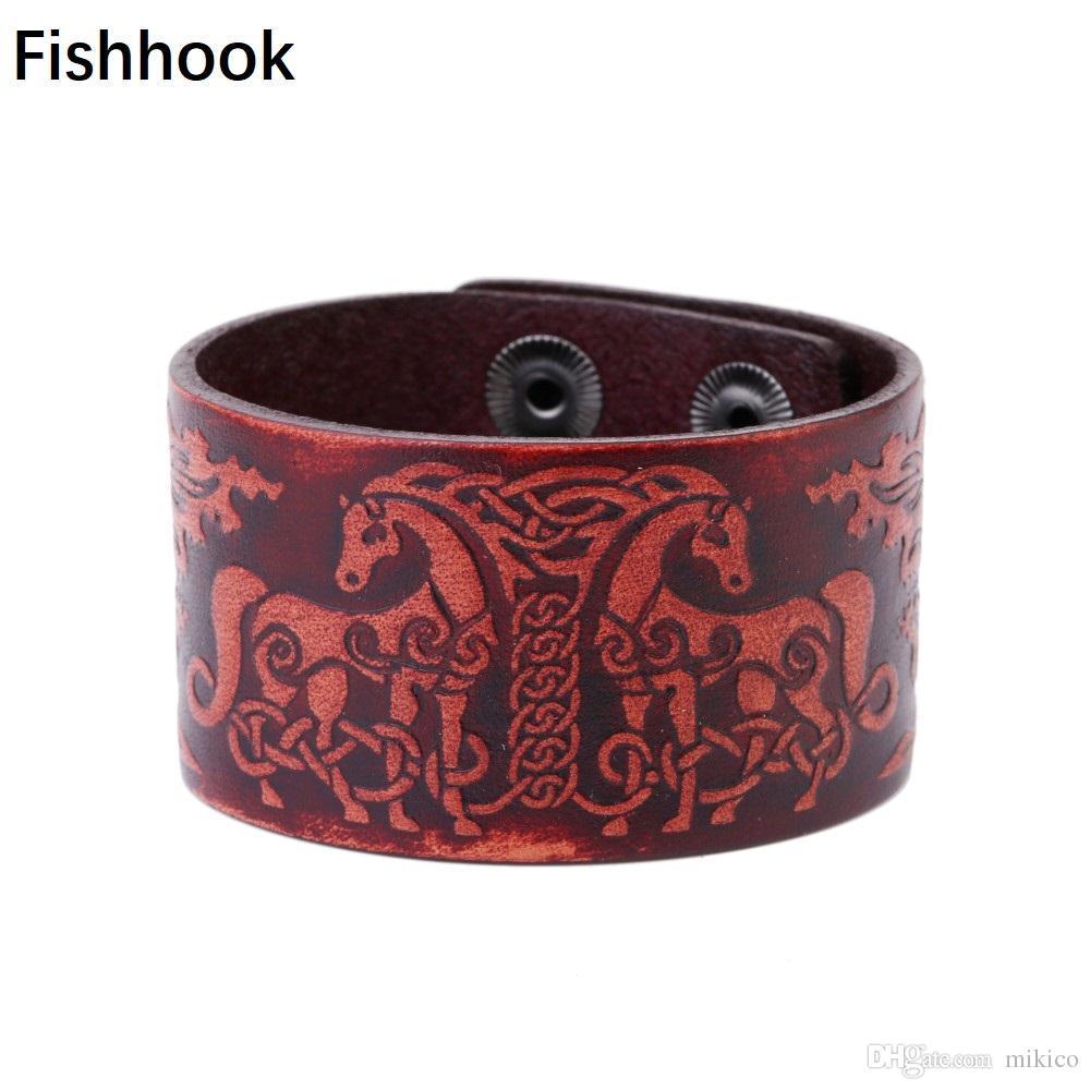 2018 Fishhook Double Deer Nordic Talisman Dark Brown Viking Leather