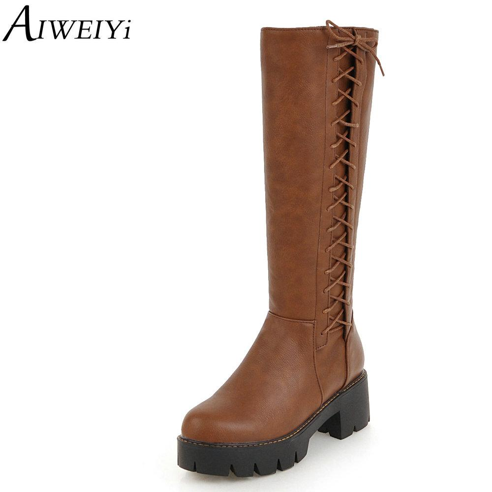 310fe0c74307a Compre AIWEIYi Botas De Caña Alta Para Mujer Negro Marrón Tacón Grueso  Zapatos De Tacón Alto Mujer Botas De Piel Con Vendaje Cruzado Botas Martin  Zapatos ...