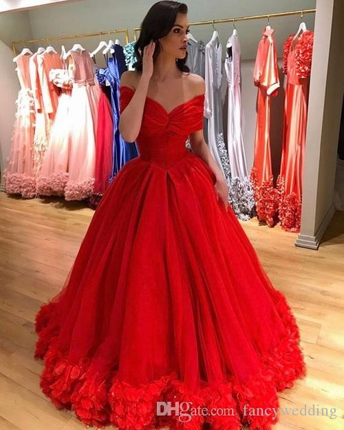 9b87f68160d New Coming Red Off Shoulder Ball Gown Prom Dresses Hand Made Flower Floor  Length Formal Party Evening Gowns Long Dresses Formal Long Red Evening Dress  From ...