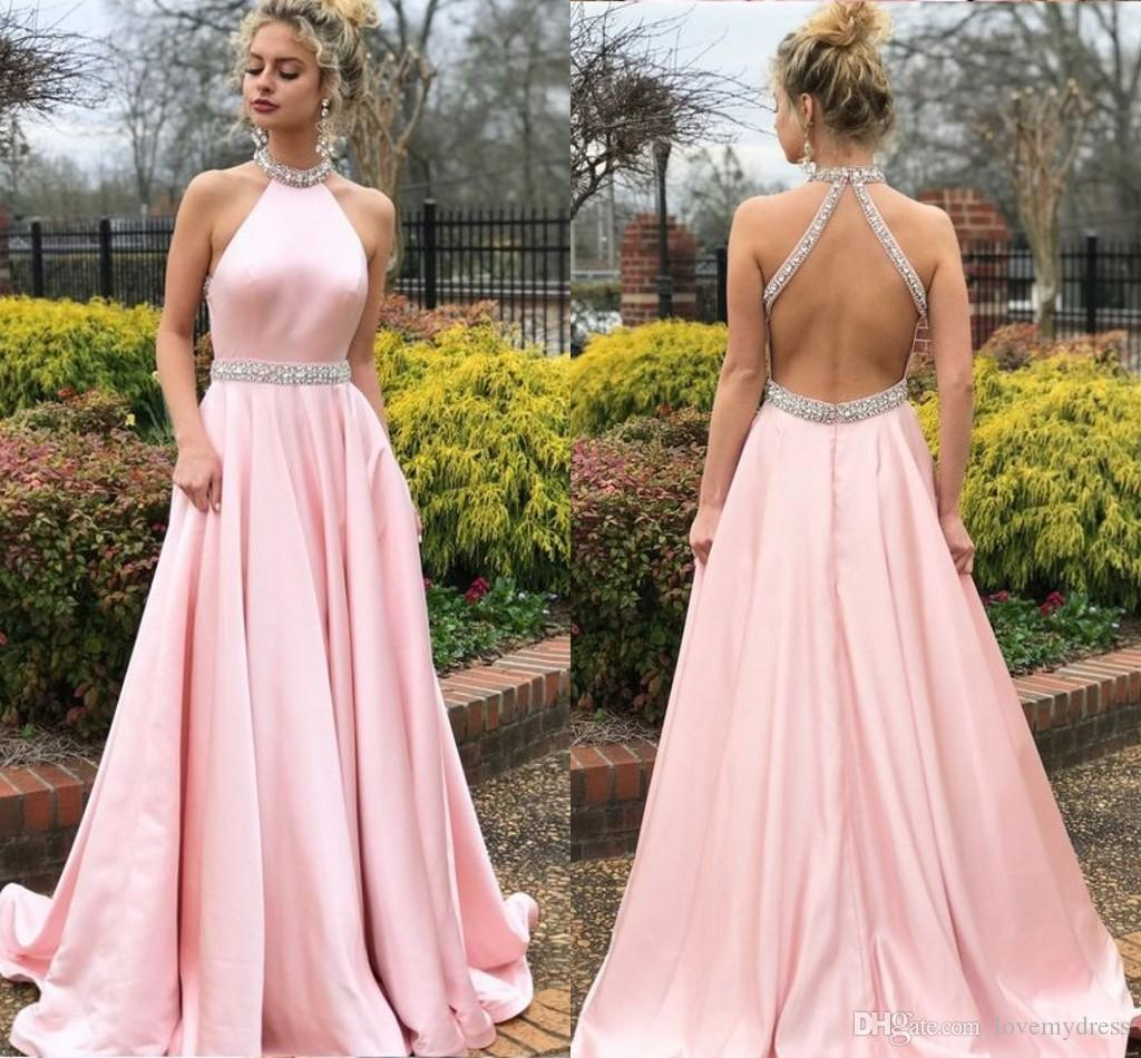 0ed15c4e50036 Charming Pink High Neck Prom Dresses A Line Empire Waist Beaded Crystal  Draped Open Back Graduation Dress Evening Formal Gowns Party Dress Long  Black Prom ...