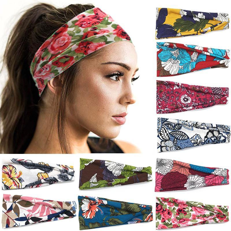 03040c7a8c3 Twist Sweatband New Women Turban Yoga Headband Sports Headband Wrap Cotton  Head Printing Knot Headscarf Decorative Hair Pins For Buns Hair Accessories  ...
