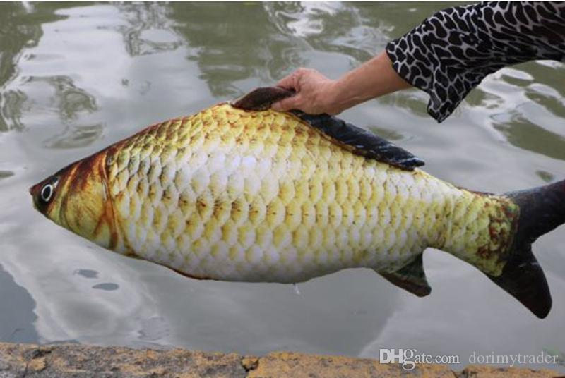 Dorimytrader real picture 3D lifelike animal carp plush pillow soft animal fish toy baby doll gift for kids creative decoration DY61916