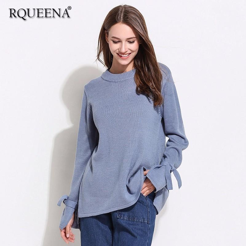 2019 2019 Spring Sweater Casual Knitted Plus Size Pullover Sweaters Long  Sleeve Bow Sweater Round Neck Women Sweaters And Pullovers From Avive,