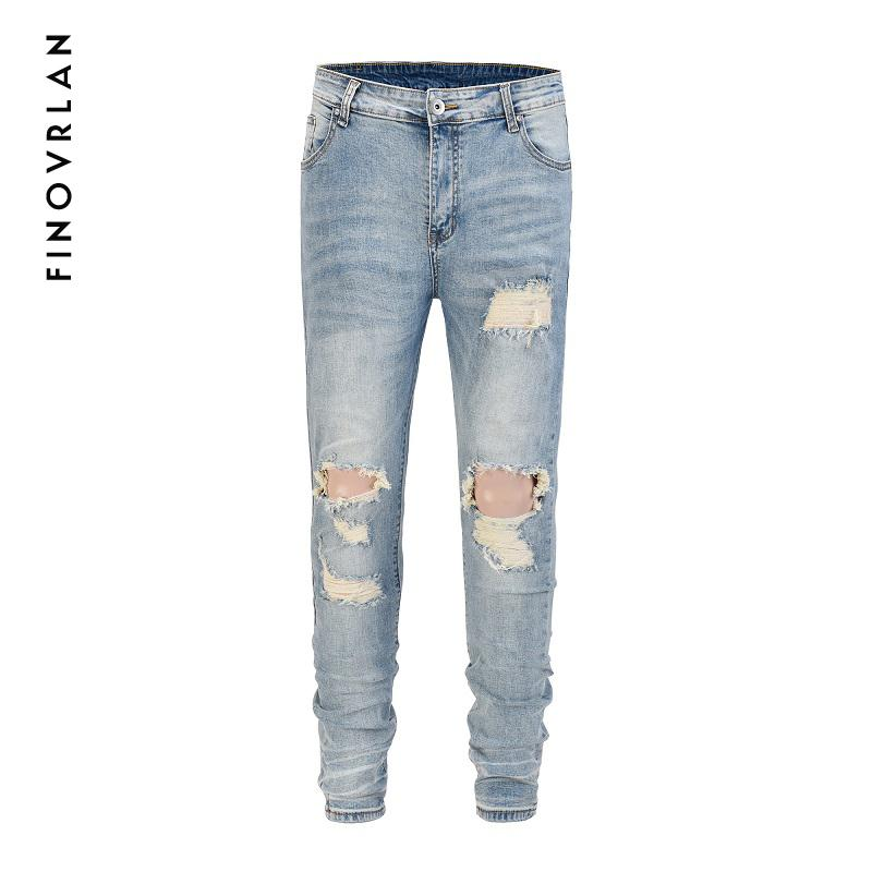 ebe45b7ea59e man jeans fashion 2018 new spring light blue jeans trousers wash old men's  ripped distressed skinny men Street wear