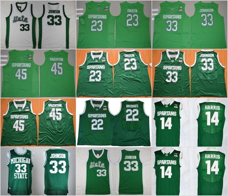 lowest price b3aa4 7aa08 Mens Michigan State Spartans 33 Magic Johnson College Jersey 22 Miles  Bridges 23 Draymond Green 45 Denzel Valentine Basketball Shirts