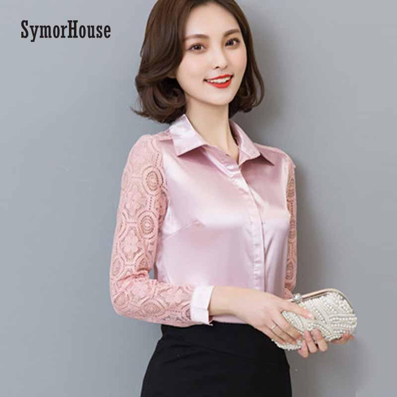 fcef13cbe61e12 2019 SymorHouse Spring Summer Autumn New Arrival 2018 Hot Sale Female Lace  Casual Silk Blouse Slim Women Silk Shirt Tops Plus Size From Rebecco