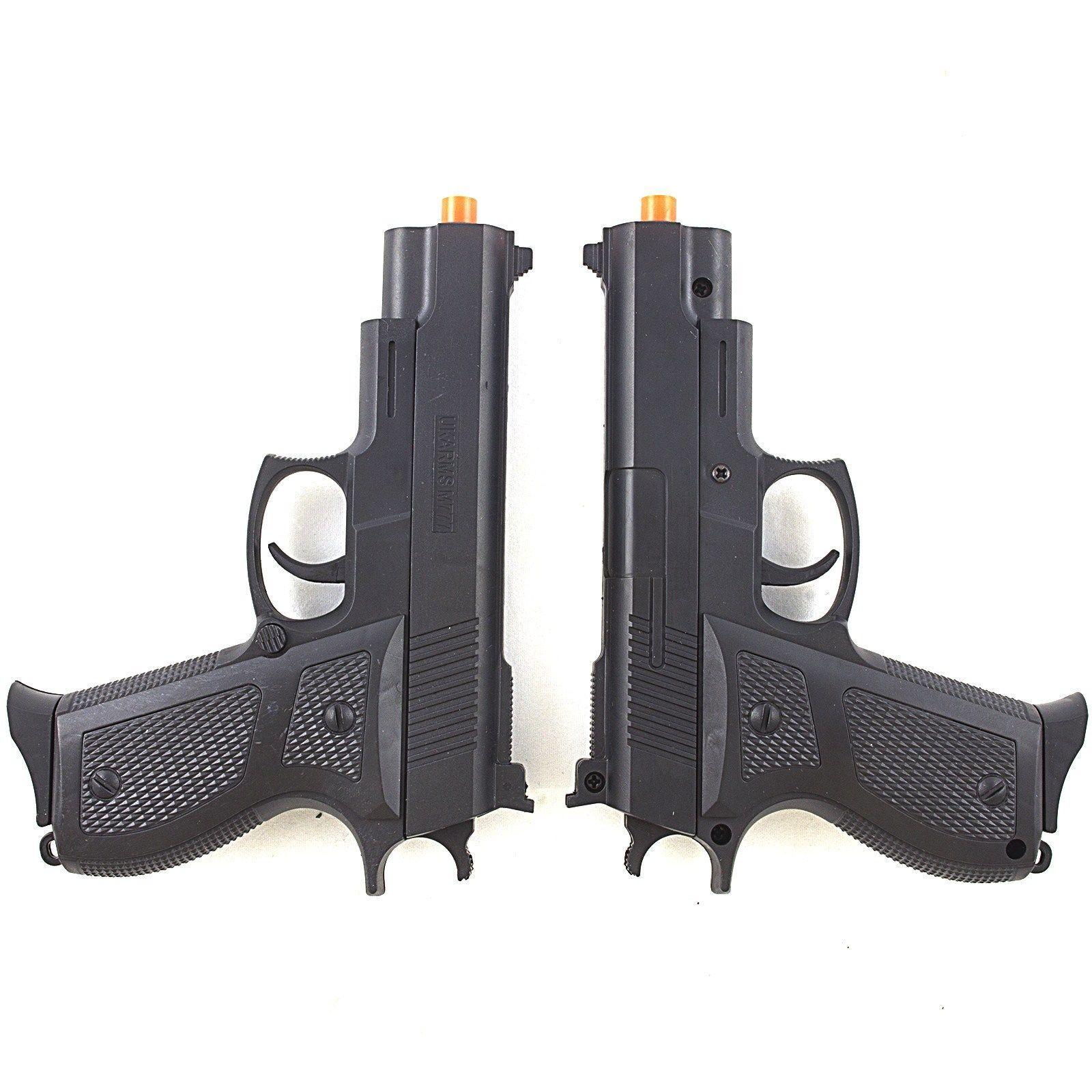 2 x M777B SPRING AIRSOFT PISTOL HAND GUN AIR w/ 6mm BB BBs Set Pack