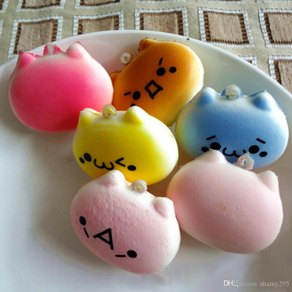 4cm Cartoon Cat Squishy Charms Kawaii Buns Bread Cell Phone Key Bag Strap Pendant Squishes 2018 new wholesales OEM high qualit