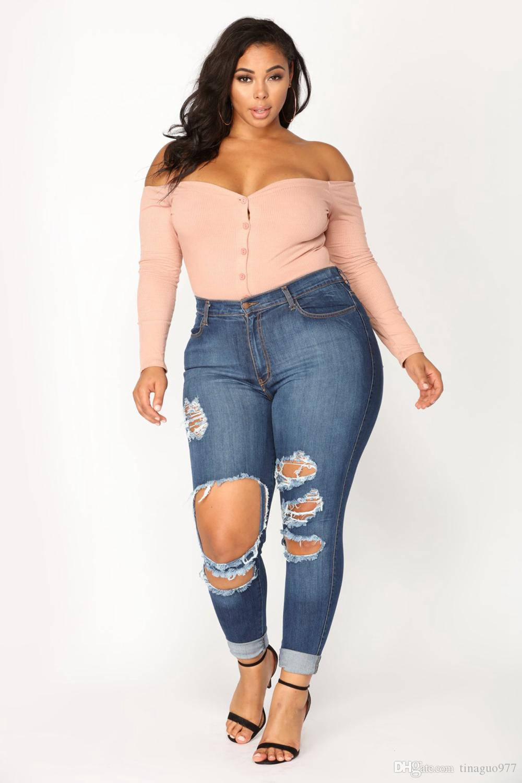 65a797e61 Compre Plus Size Mulheres Jeans Broken Hole Lavagem Vintage Extra Destroyed  Jeans Skinny Azul Denim Calças Compridas De Tinaguo977