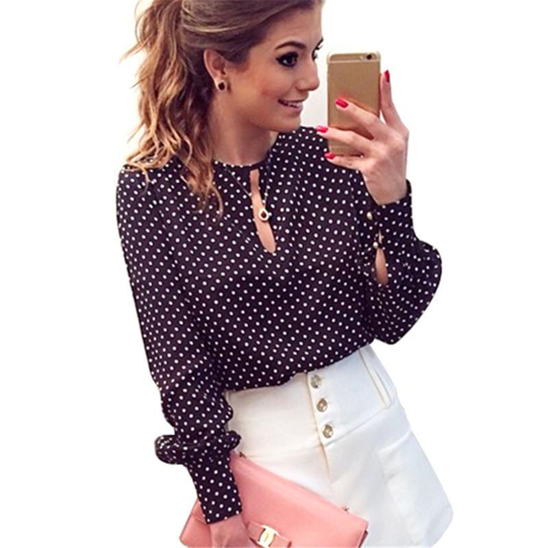 1c6ec5e60ef60d Casual Women Round Neck Long Sleeve Blouses Summer Chiffon Polka Dots Shirt  Tops New Online with  24.05 Piece on Modeng09 s Store