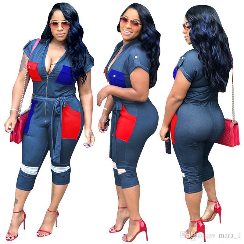 Women Jumpsuit With Sashes Imitation Jeans Rompers Capris Short