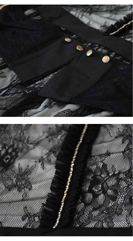 3XL 4XL 5XL Elegante Sexy Plus Size Mesh Semi Sheer Dresses Malla de encaje largo empalmado vestido negro de manga larga